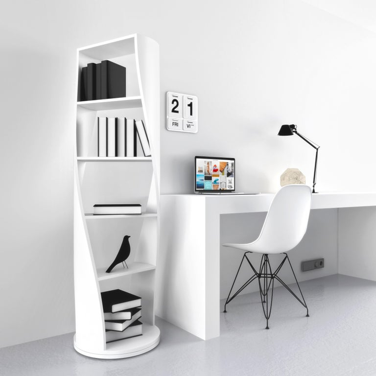 Contemporary Black Wood Bookcase and Storage System, MYDNA Collection by Joel Escalona For Sale