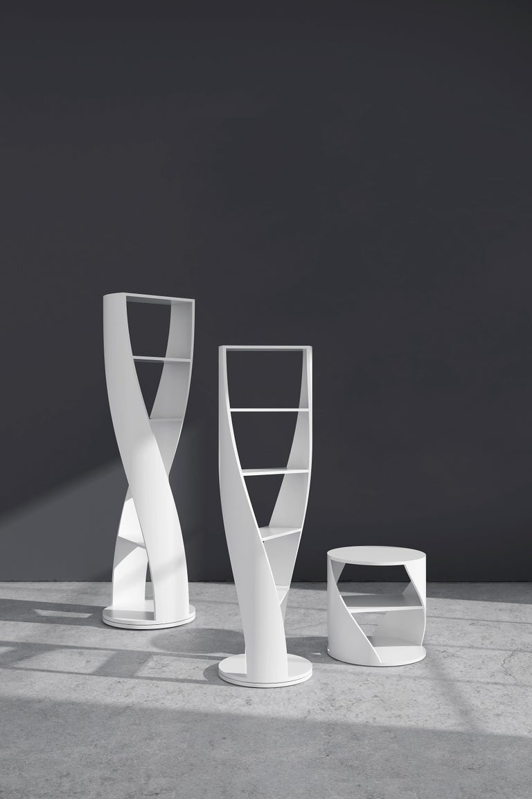 Contemporary White Bookcase and Storage System, MYDNA Collection by Joel Escalona For Sale