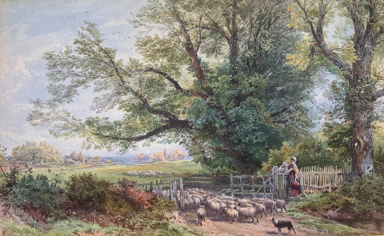 Beautifully executed original hand colored lithograph using gouache and watercolor. Scene in Surrey, England. Signedxwith monogram in plate lower left, Myles Birket Foster. Published by M. H. Long.  Condition is very good.  In original 2 inch wide