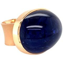Georg Spreng - My Medallion Ring 18K Rosé Gold Oval Blue Tanzanite Cabochon
