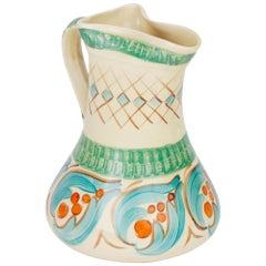 Myott Art Deco Hand Painted Pinch Neck Art Pottery Jug, 1930