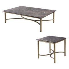 Myra Coffee Table Set, Black and White Marble Top with Bronze Legs Coffee Table