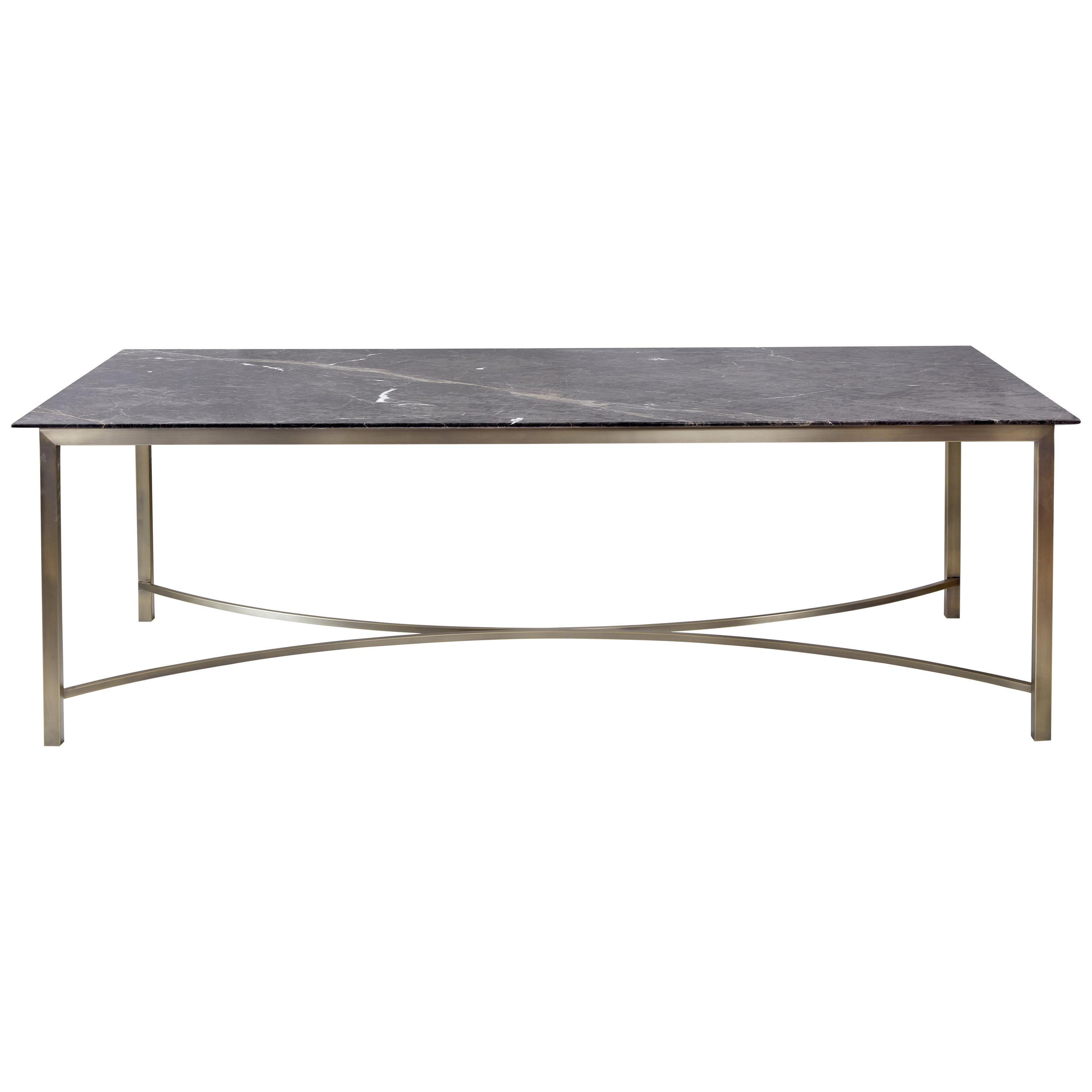 Myra Dining Table, Bronze Legs Supporting Marble Slab Dining Table