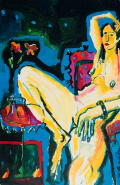 Substantial Expressionist Oil of a Nude Seated in an Interior (California Fauve)