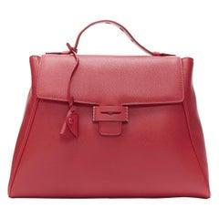 MYRIAM SCHAEFER Byron red leather cut out top handle satchel shoulder bag