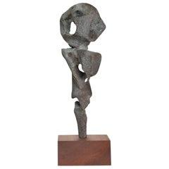 Myrna Nobile Abstract Bronze Sculpture in Motion on Walnut Base 1960s Calif Art