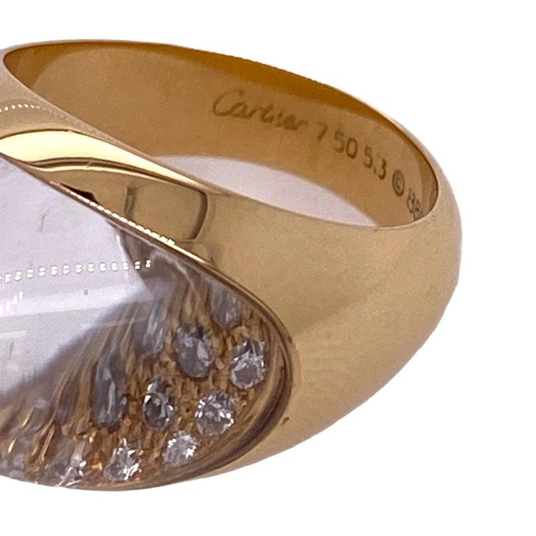 Modern Myst de Cartier Diamond Crystal 18 Karat Yellow Gold Estate Ring For Sale