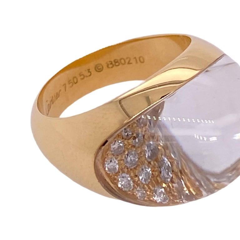 Round Cut Myst de Cartier Diamond Crystal 18 Karat Yellow Gold Estate Ring For Sale