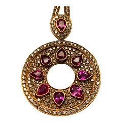 Mysterious 18 Karat Gold Pink Sapphire and Diamond Pendant with Chain