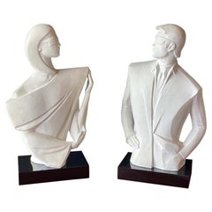 """""""Mysterious I & II"""" white sculptures by David Fischer for Austin Prod, 1980s"""