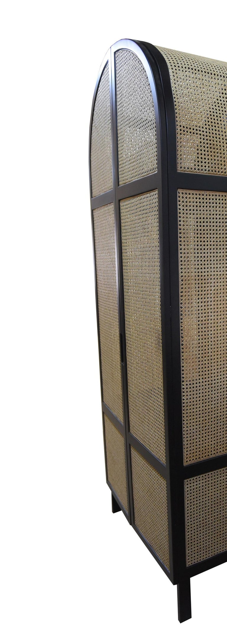 Mid-Century Modern Mystery Cabinet, Contemporary Wardrobe in Woven Cane and Black Lacquer Frame For Sale