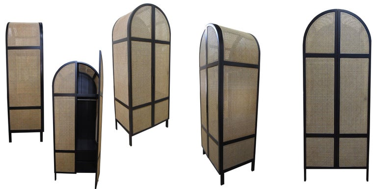 Asian Mystery Cabinet, Contemporary Wardrobe in Woven Cane and Black Lacquer Frame For Sale
