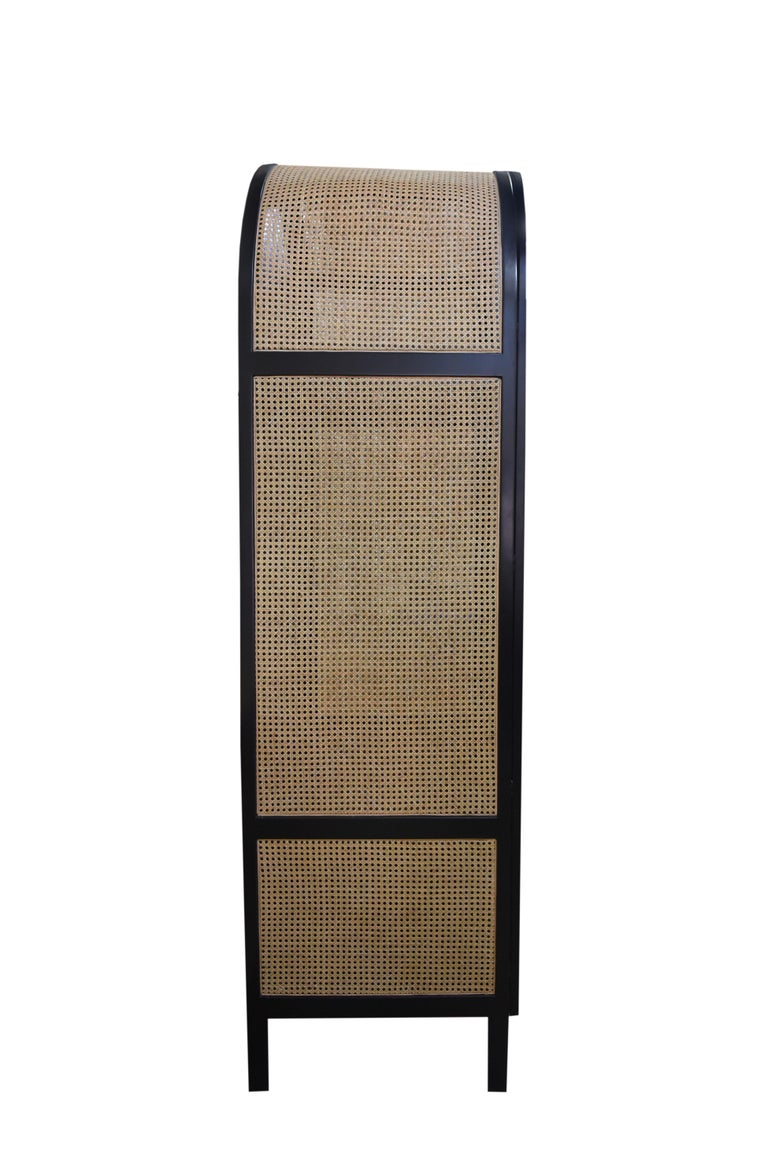 Mystery Cabinet, Contemporary Wardrobe in Woven Cane and Black Lacquer Frame In New Condition For Sale In New York, NY