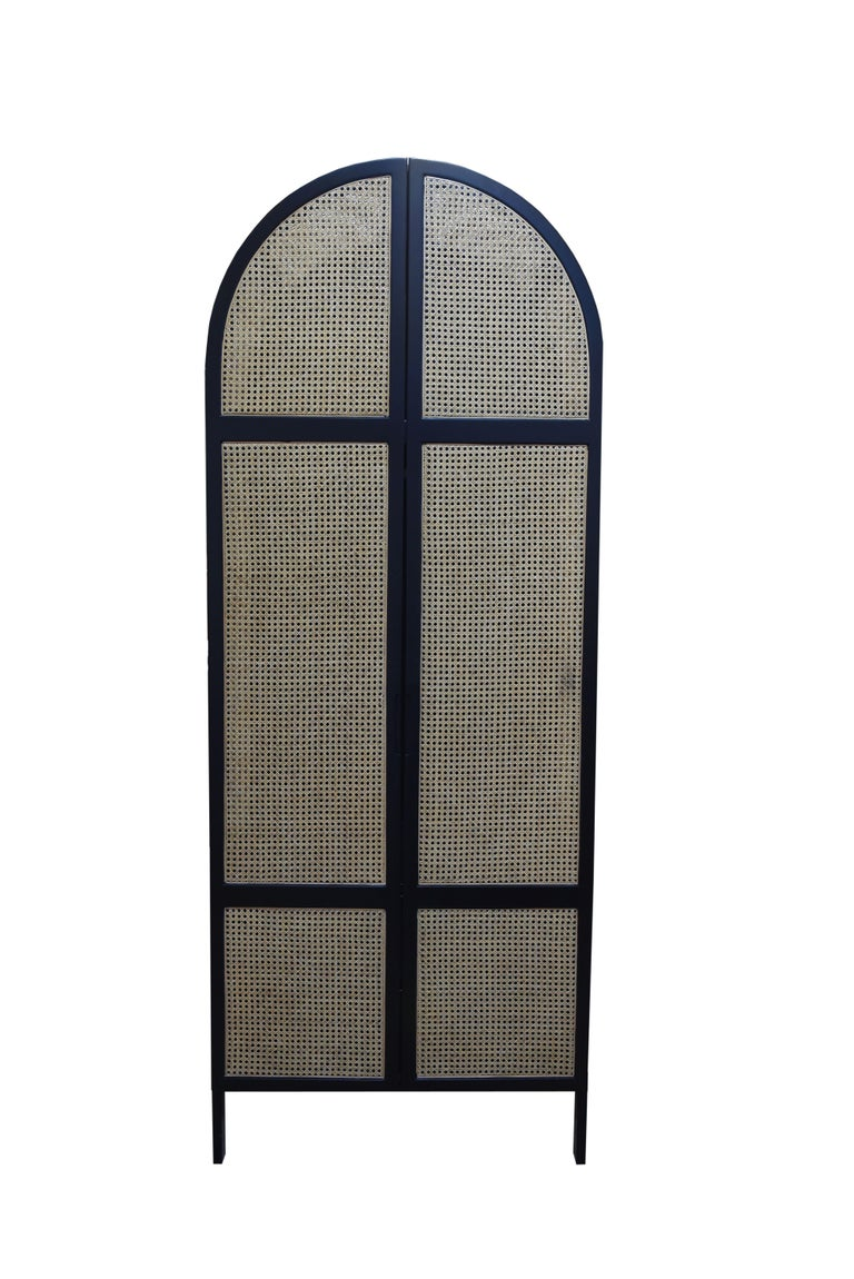 Mystery Cabinet, Contemporary Wardrobe in Woven Cane and Black Lacquer Frame For Sale 1