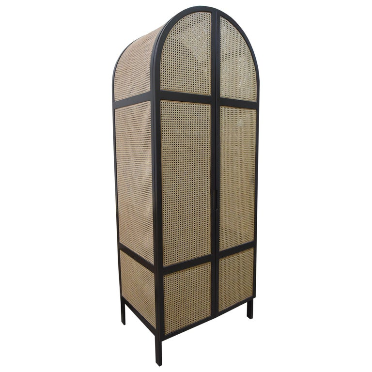 Mystery Cabinet, Contemporary Wardrobe in Woven Cane and Black Lacquer Frame For Sale