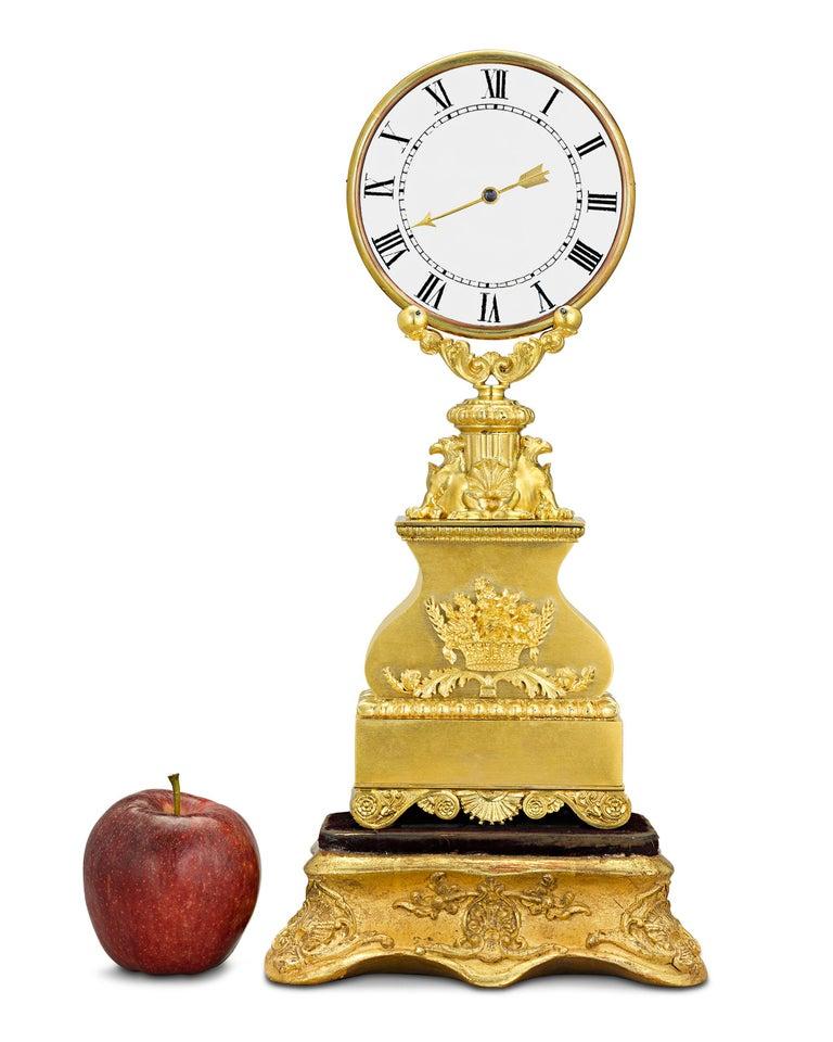 Gilt Mystery Clock by Robert Houdin For Sale