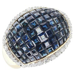 Mystery Set Blue Sapphire and Diamond Bombe Cocktail Ring, 18 Karat Yellow Gold