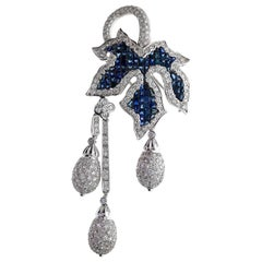 Chatila Mystery Set Blue Sapphire and Diamond Leaf Brooch