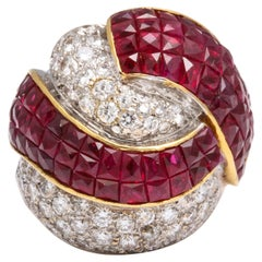 Mystery Set Ruby and Diamond Bombe Cocktail Ring