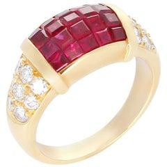 Mystery Set Ruby and Diamond Ring, 18 Karat Yellow Gold