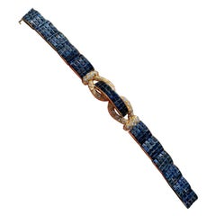 Mystery Set Sapphire and Diamond Bracelet Attributed to Aletto Brothers