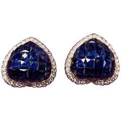 Mystery Set Sapphire and Diamond Heart Earrings