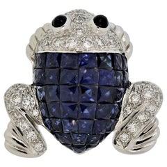 Mystery-Set Sapphire Diamond Gold Frog Brooch