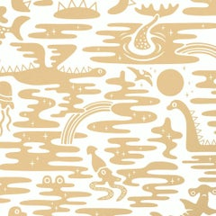 Mystic Lagoon Designer Wallpaper in Color Sphinx 'Metallic Gold on Soft White'