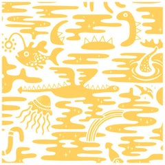 Mystic Lagoon Designer Wallpaper in Color Summer 'Yellow on Soft White'