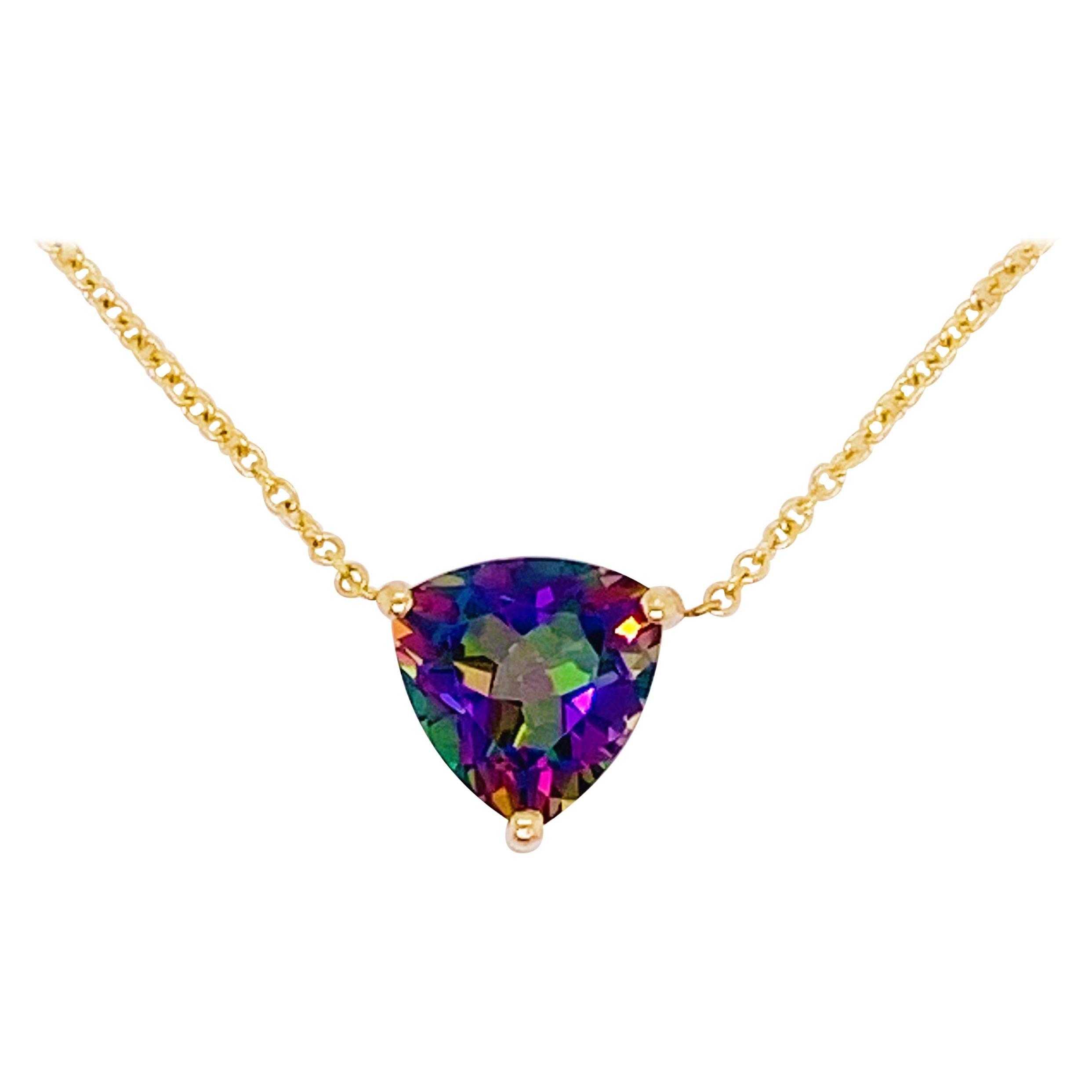 Mystic Topaz Necklace, 14k Gold Pendant, Trillion, #NeckMess, Rainbow Gemstone