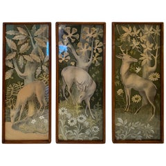 Mystical Vintage Gouache Triptych of Deer in the Forest