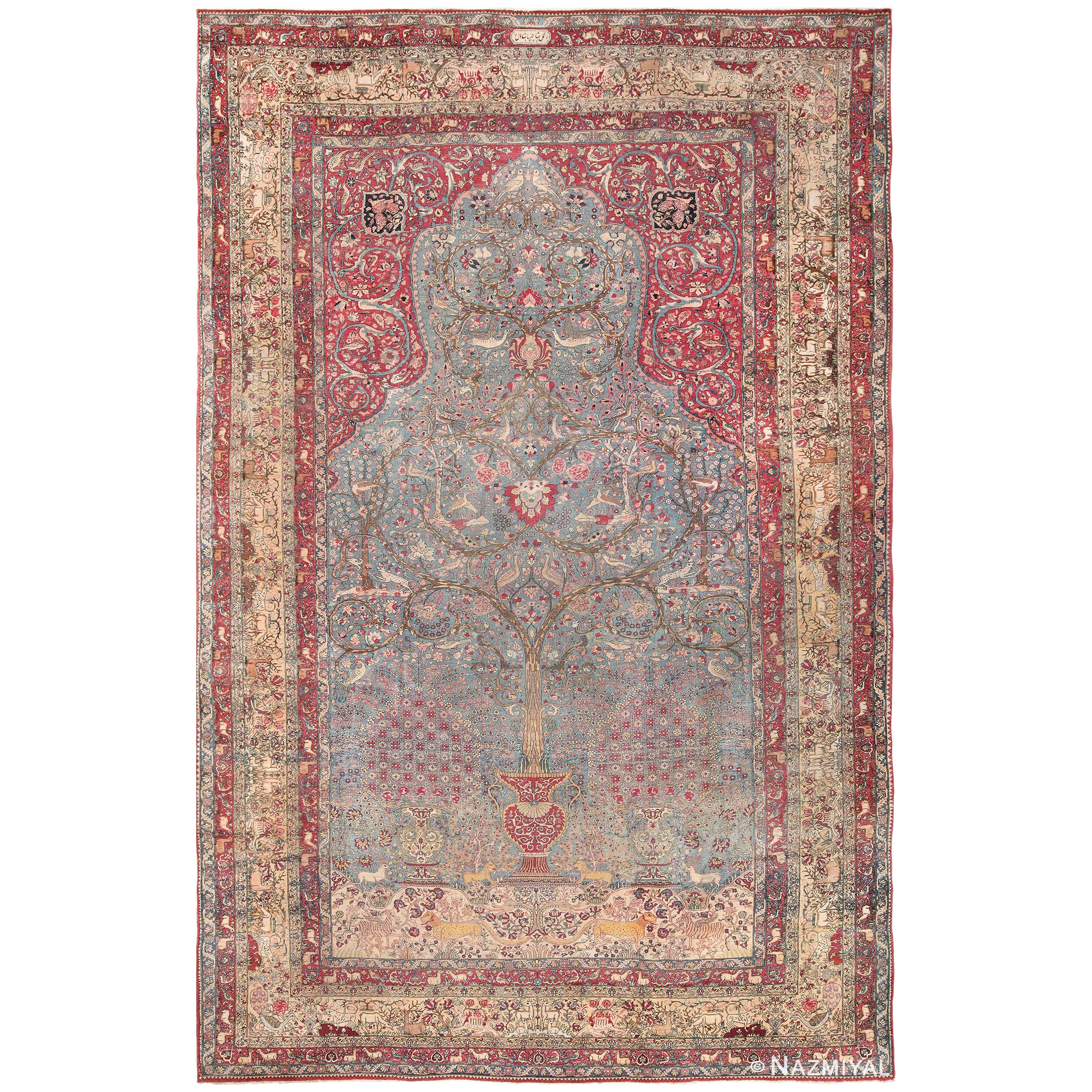 """Mythical Antique Tree of Life Design Persian Tehran Rug. Size: 10' 8"""" x 16' 2"""""""
