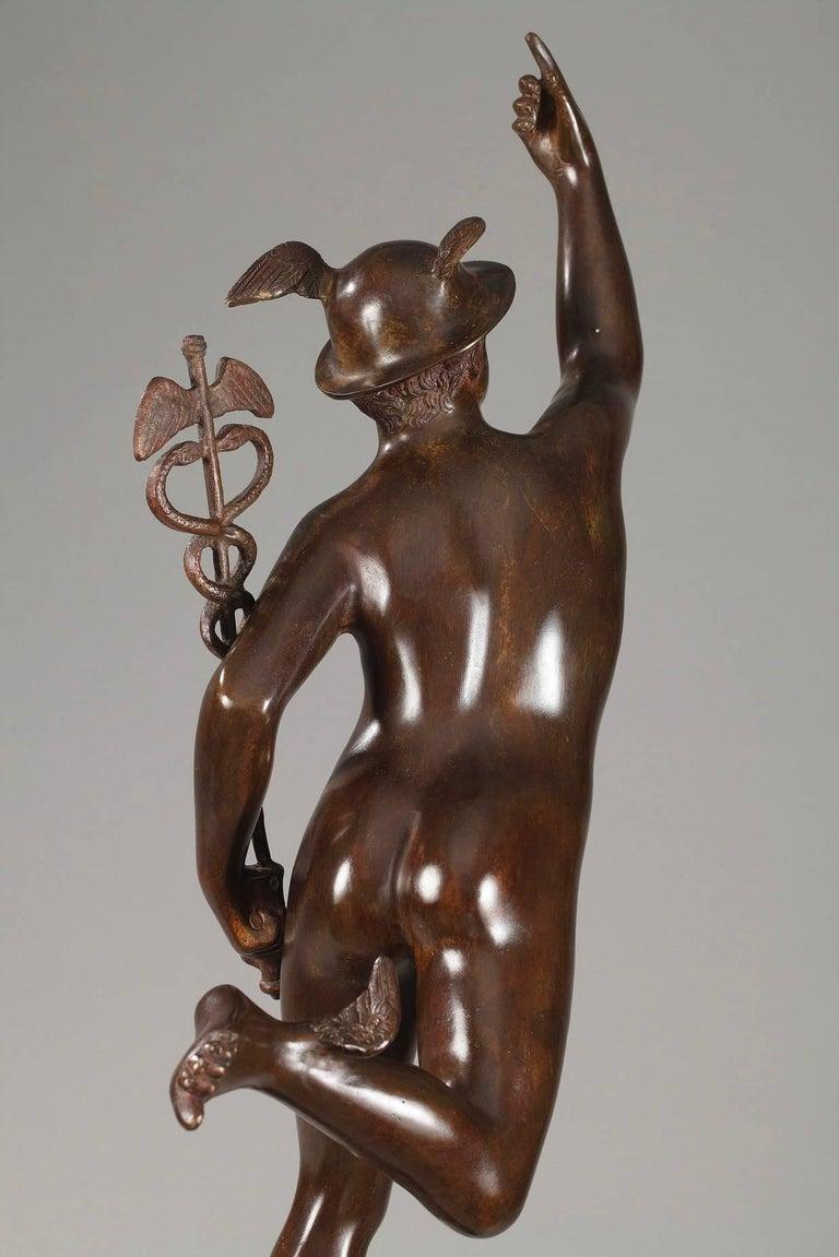 Patinated Mythological Bronze Mercury after Giambologna