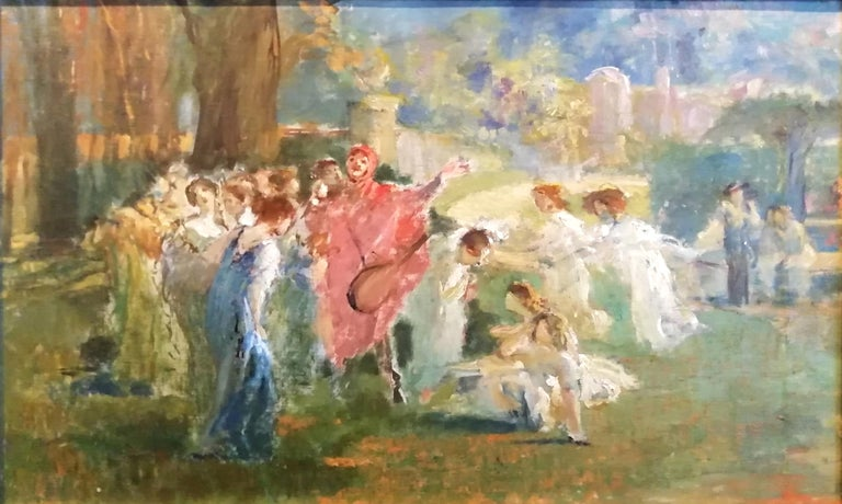 Augusto Guglielmo Stoppoloni (San Severino Marche 1866 - Gubbio 1936) Mythological Scene with Dancing Faun and Muses Title: Goat's Paw Provenance: Heirs of the Painter , Signed on the back of the canvas: A Stoppoloni  Augusto was born in San