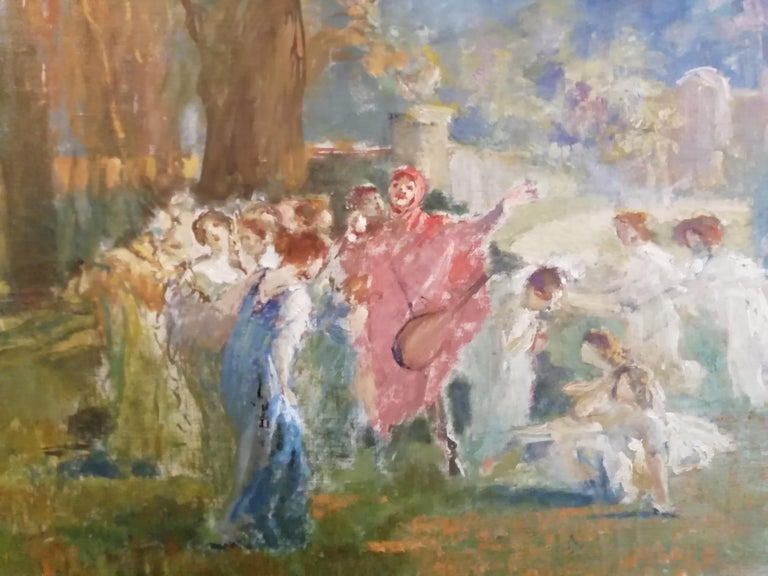 Mythological Scene with Dancing Faun and Muses, Stoppoloni Oil Italian Painting In Good Condition For Sale In Rome, Italy