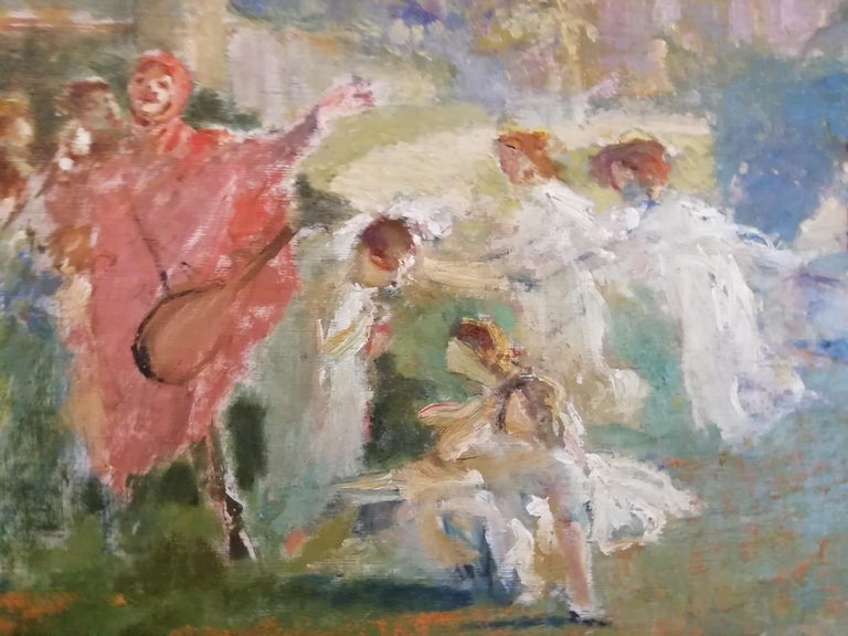 1890s Mythological Scene with Dancing Faun and Muses, Stoppoloni Oil Italian Painting For Sale