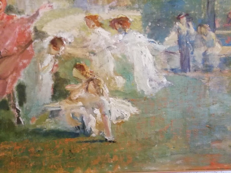 Mythological Scene with Dancing Faun and Muses, Stoppoloni Oil Italian Painting For Sale 1