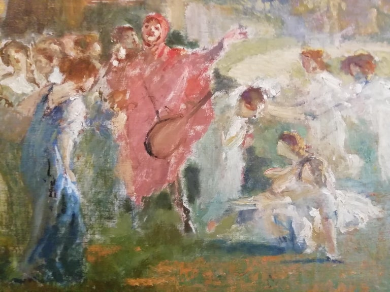 Mythological Scene with Dancing Faun and Muses, Stoppoloni Oil Italian Painting For Sale 2