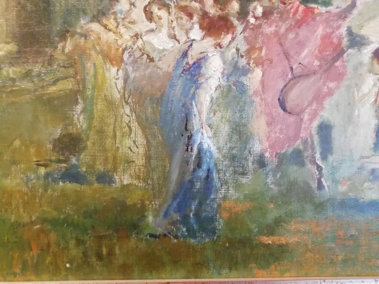 Mythological Scene with Dancing Faun and Muses, Stoppoloni Oil Italian Painting For Sale 3
