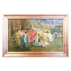 Mythological Scene with Dancing Faun and Muses, Stoppoloni Oil Italian Painting