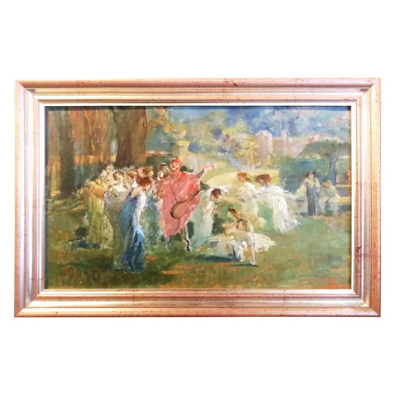 Mythological Scene with Dancing Faun and Muses, Stoppoloni Oil Italian Painting For Sale