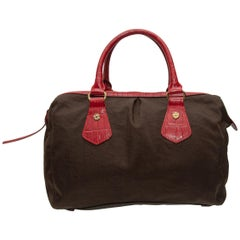 MZ Wallace Brown & Red Fabric Handbag