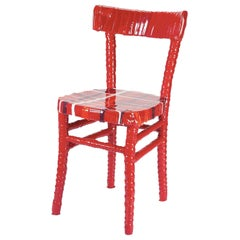 N. 02/20 One-Off Striped Red Resin Chair by Paola Navone