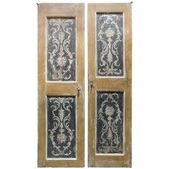 N. 1 Antique Double-Leaf Doors, Hand Painted Orange Black, 18th Century, Italy
