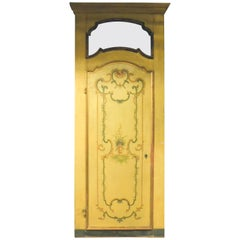 N. 3 Antique Yellow and Gold Lacquered Doors, Handmade Floral Painture, 1700