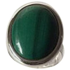 N. E. From Ring in Sterling Silver with Cabochon Cut Green Malachite
