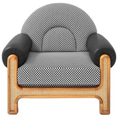N-Gene Armchair with Black and Beige Checker Fabric and Black Leather