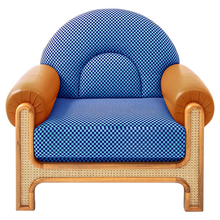 N-Gene Armchair with Blue Checker Fabric and Brown Leather