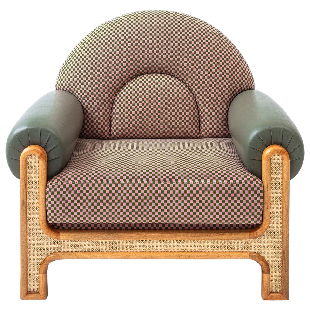 N-Gene Armchair with Cherry Checker Fabric and Olive Leather