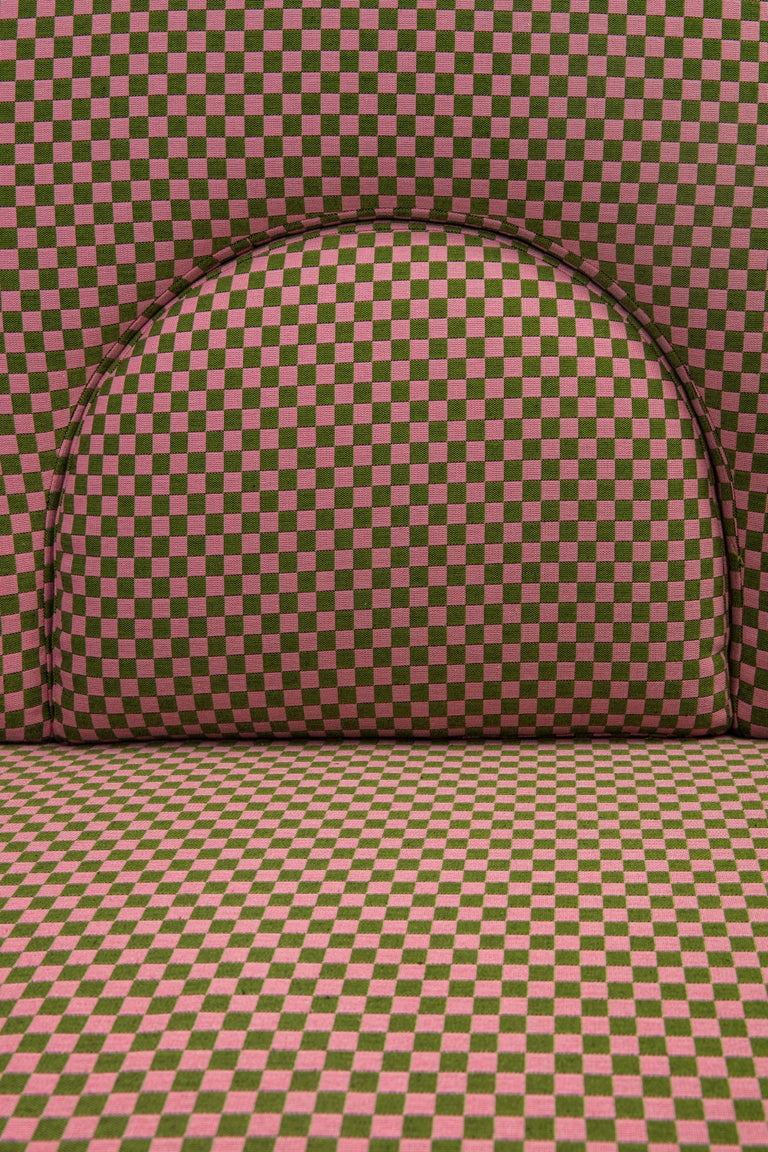 N-Gene Armchair with Green Checker Fabric and Purple Leather For Sale 4